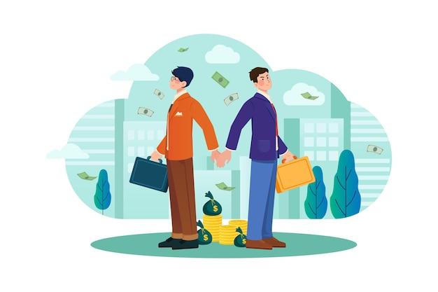 Businessmen handshaking back to back illustration