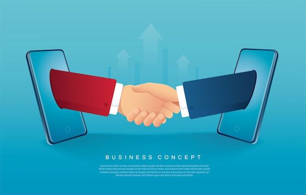 フラットなデザインで握手するビジネスマン