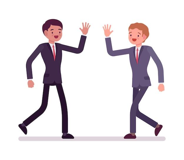 Бизнесмены счастливого приветствия
