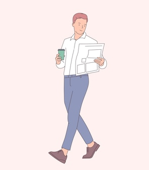커피 브레이크 개념을 갖는 기업인. 뜨거운 커피를 마시고 신문을 읽는 사업가. 평면 그림
