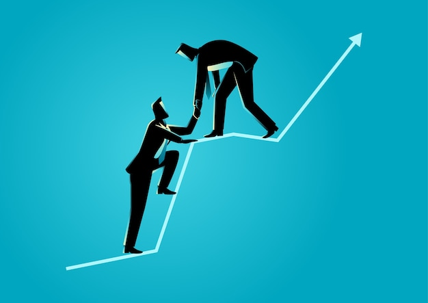Businessmen helping each other on top of graphic chart