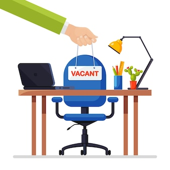 Businessmen hold sign vacant in hand above office chair. business hiring, recruitment, human resources, hr concept. vacant seat for employee, worker