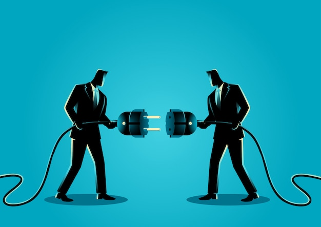 Businessmen holding a plug and outlet