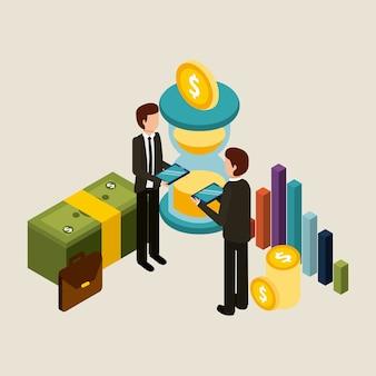 Businessmen holding tablet device transaction money graph financial