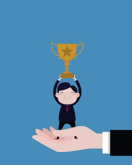 Businessmen holding trophies and stand in big boss hand. concept business vector cartoon