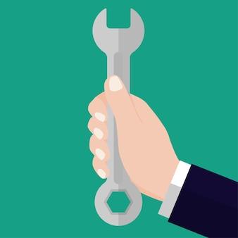 Businessmen holding wrench