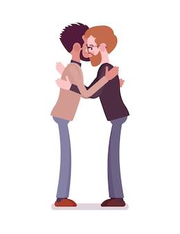Businessmen hug gesture
