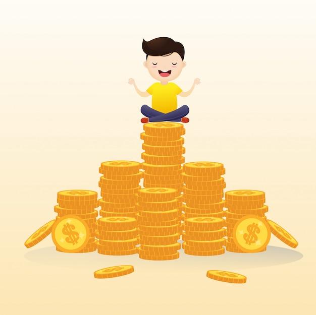 ビジネスマンは、現金で瞑想する空気にぶら下がっていました。 Premiumベクター