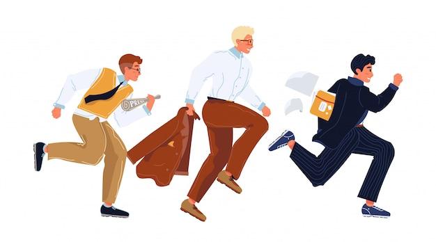 フォーマルスーツのビジネスマンは、急いで、並んで走っています。お互いを追い越そうとしているサラリーマン、従業員、マネージャーが最初に。キャリア、ソーシャルクライミング、場所狩猟ベクトルフラットイラスト。