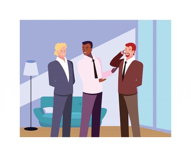 Бизнесмены в гостиной с разных позах