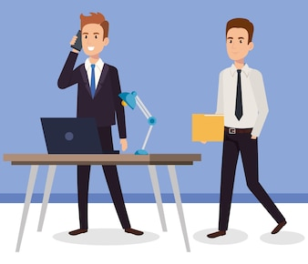 Businessmen in the office avatars characters