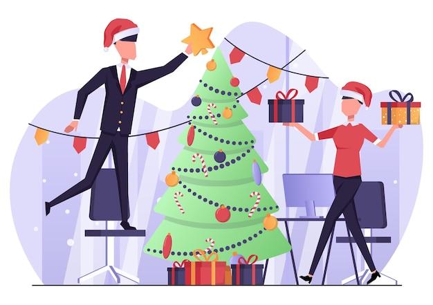 クリスマスツリーを飾るオフィスのビジネスマン新年とクリスマスの雰囲気