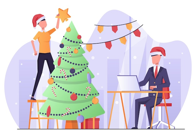 クリスマスツリーを飾るオフィスのビジネスマン新年の雰囲気
