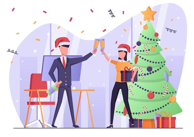 シャンパンを飲み、クリスマスと新年を祝うオフィスのビジネスマン