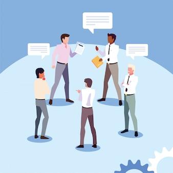 職場のビジネスマン、グローバルな計画とマーケティング調査に関する会議