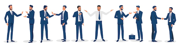 Businessmen isolated. set of business characters working in office. isolated vector design.
