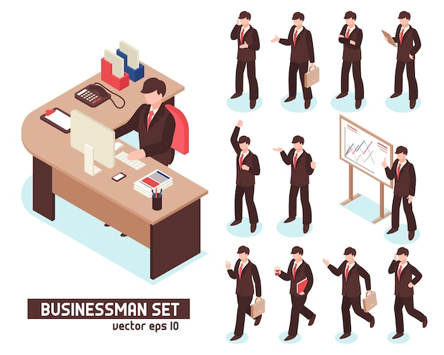 Businessmen isometric set