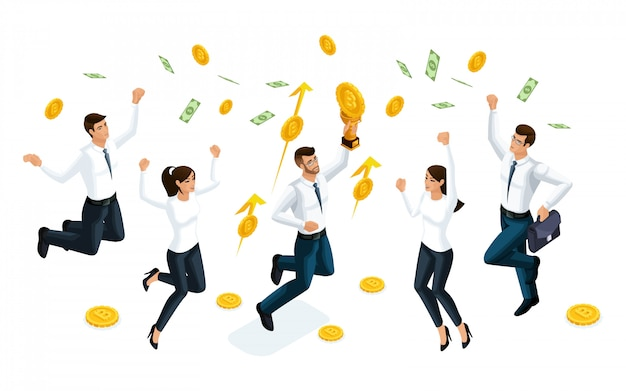 Businessmen jump and enjoy the big money that is served from the sky. the concept of making money.  illustration of a financial investor