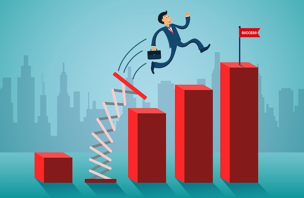 Businessmen jumping from springboard go to flag red on bar graph.