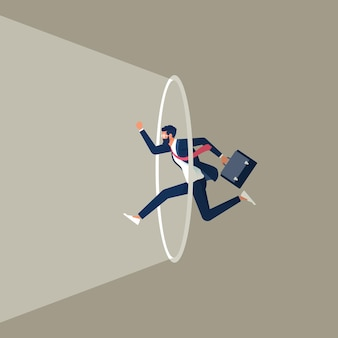 Businessmen jumping out of the comfort zone represents conquering adversity