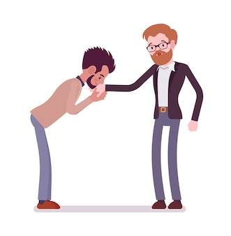 Businessmen kiss gesture