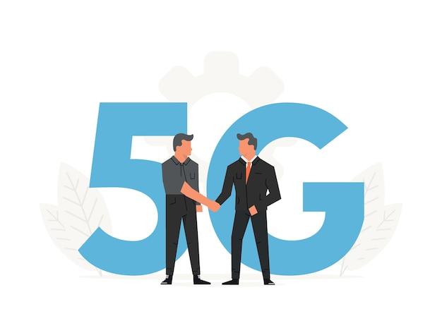 ビジネスマンは5gの大きな文字の前に契約を結びます。