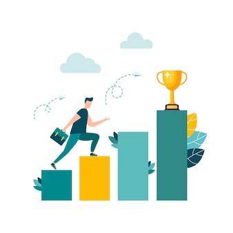Businessmen move up the ladder to the goal in the form of a gold cup career planning the path to