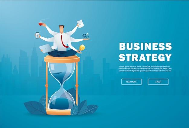 Businessmen multitasking on hourglass