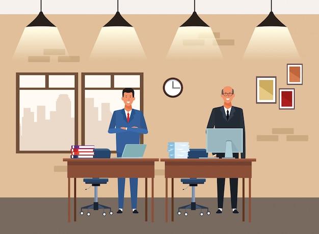 Businessmen partners working at desks