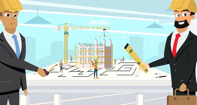 Businessmen planning building project flat vector