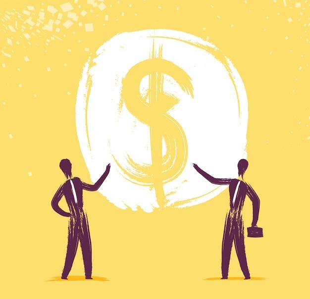 Businessmen pointing to money
