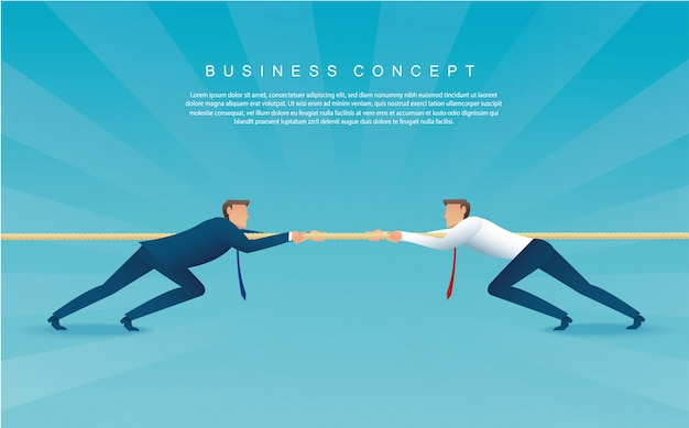 Businessmen pull the rope. tug of war