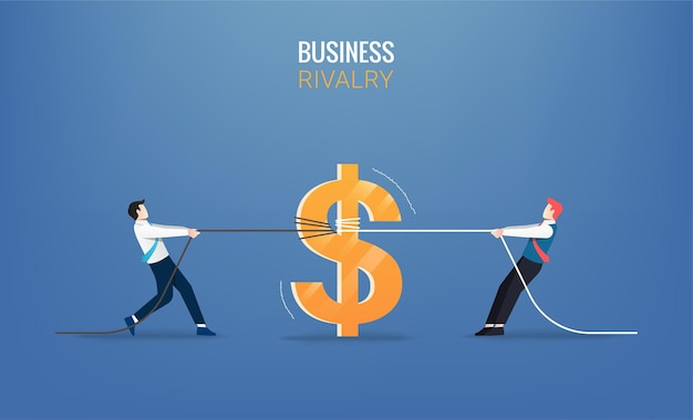 Businessmen pull the rope with money. business illustration
