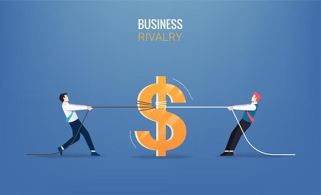 Бизнесмены тянут за веревку с деньгами. деловая иллюстрация