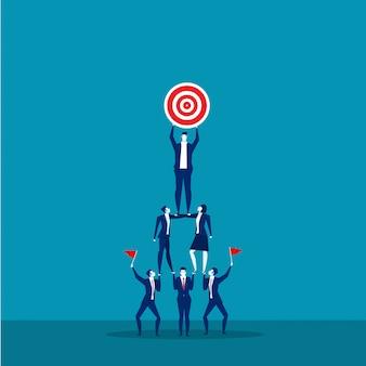 Businessmen pyramid teamwork concept.