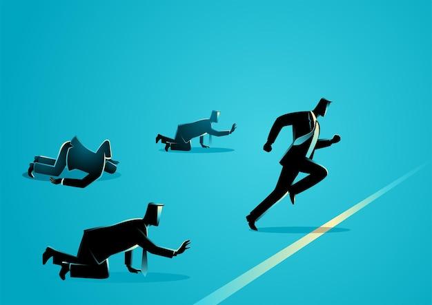 青で隔離のビジネスマンのレース