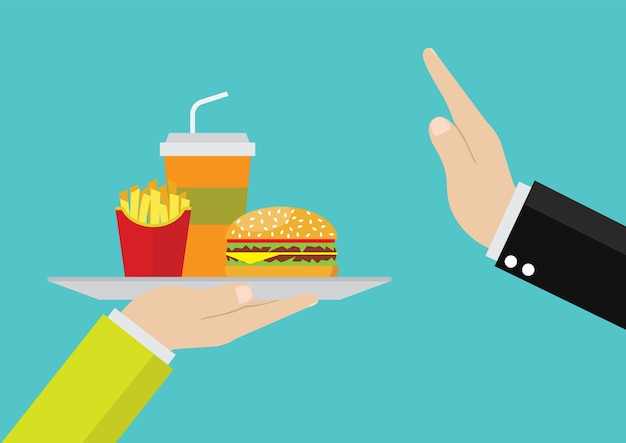 Businessmen refuse junk food.