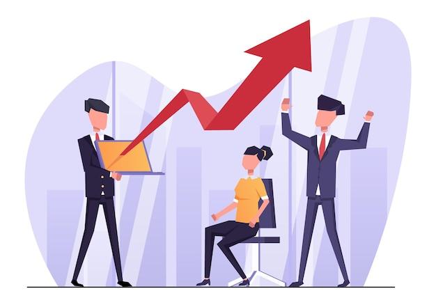 사업가들은 사업 성장에 기뻐한다