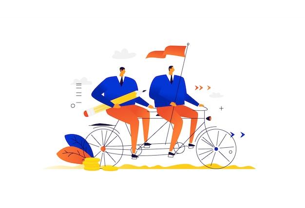 Бизнесмены катаются на тандемном велосипеде. дружная команда деловых партнеров. партнерство между людьми. лидер с флагом ведет команду к успеху.