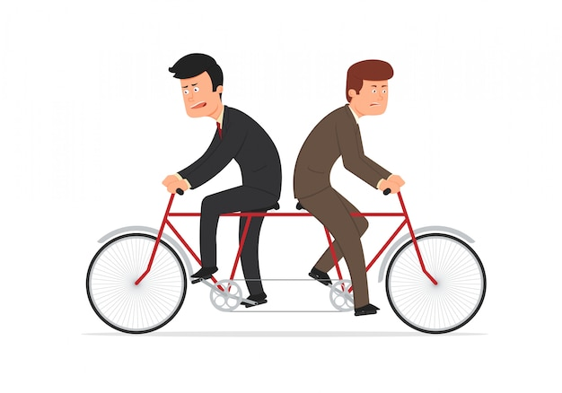 Businessmen riding tandem bicycle facing opposite directions.