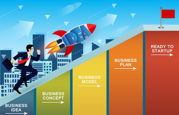 Businessmen and rocket running competition up the slope on bar graph go to the goal Premium Vector