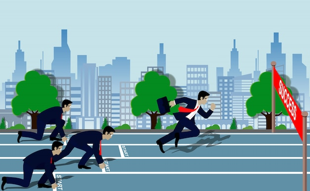 Businessmen run to the finish line to success in business concept