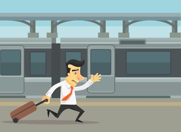 走っていて電車に乗り遅れたビジネスマン。フラット漫画イラスト