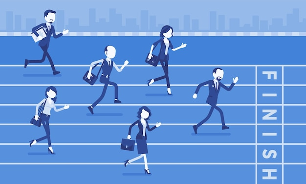 ビジネス競争で実行されているビジネスマン。企業や経営者、やる気を起こさせるコンテストの労働者、優越性を確立する従業員の間の競争競争。ベクトルイラスト、顔のない文字