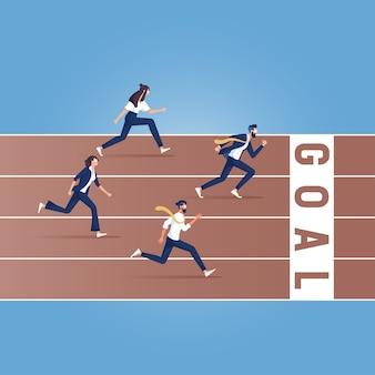 Бизнесмены, бегущие по дорожке, иллюстрация бизнес-конкурса
