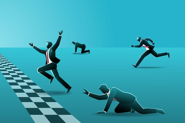 Businessmen running to finish line, businessmen racing