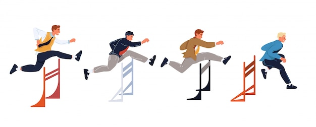 Businessmen running and jumping overc obstacles