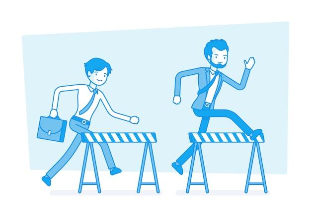 Businessmen running over obstacles.