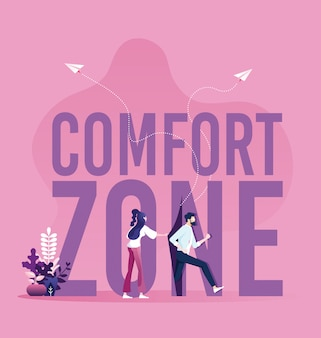 Businessmen running out of the comfort zone