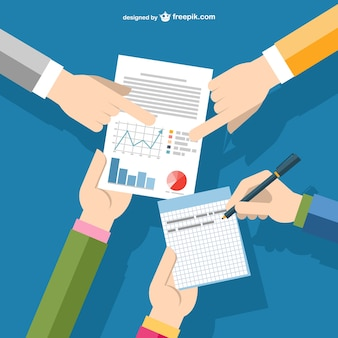 Businessmen's hands pointing to a report Free Vector